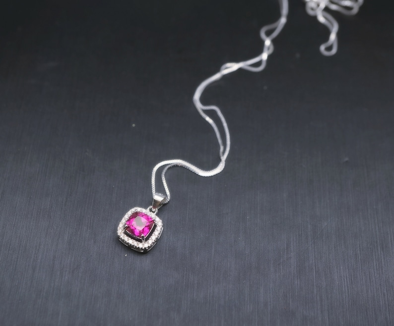 Tiny Square Ruby Necklace Sterling Silver