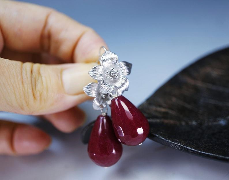 July Birthstone Ruby Jade Earrings Flower Earrings Teardrop Ruby Dangle Earrings Ruby Jewelry