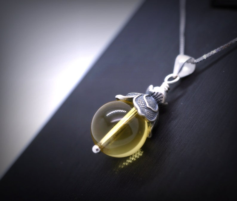 November Birthstone Crystal Pendant Chakra Healing Yoga Necklace Genuine Citrine Necklace Full Sterling Silver Lotus Flower Necklace