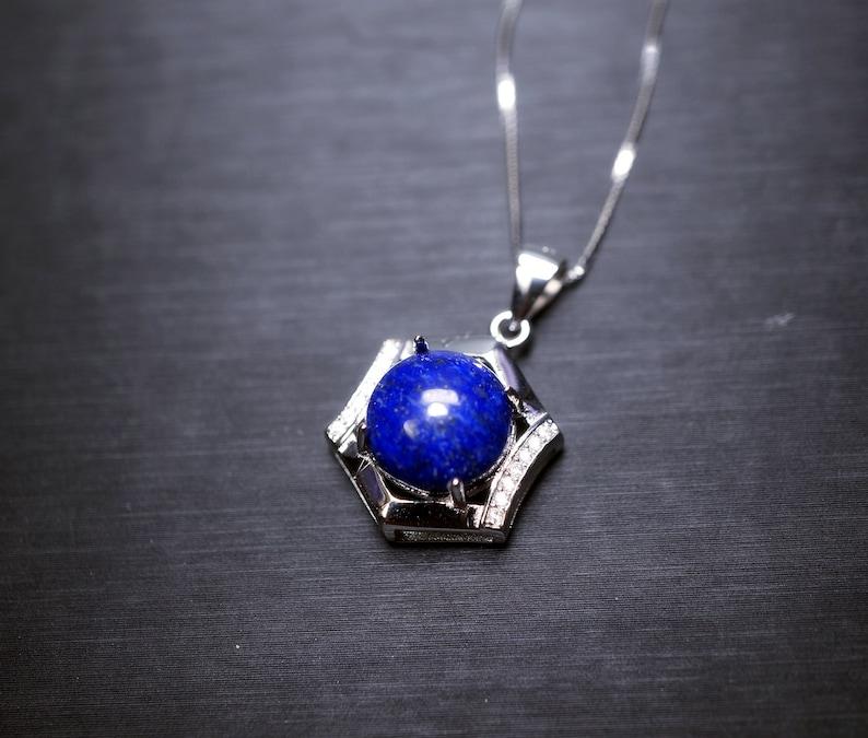 Sterling Silver Lapis Lazuli Necklace Blue Stone Hexagon Six Sides Geometric  Halo Natural Cobalt Lapis Lazuli Box Chakra Healing