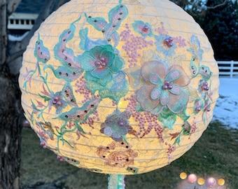 Ivory Lace with Pastel Beaded Flowers Lantern, Unique Lighting, Ambiance Lamp, Wedding Decor, Shabby Chic Art, Boho Vibes Lantern