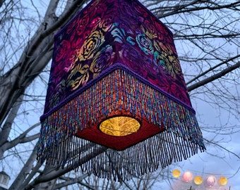 Romantic Roses Batik Lantern, Roses Art, Decorative Lighting, Paper Lantern, Dorm Lighting, Jewel Tone Rainbow Roses