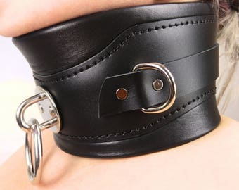 Bondage Wide Collar Posture Collar Heavy Padded Real Leather Black
