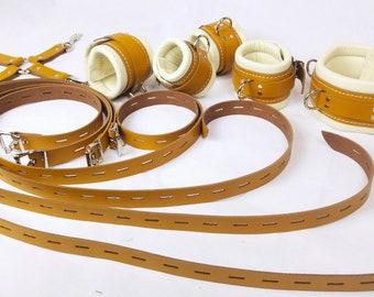 4 Padded Premium Locking Wrist /& Ankle cuffs Restraints with Hog Tie /& Padlocks