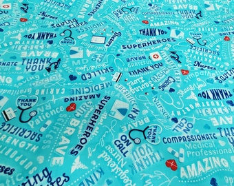 First Responder Fabric | Thank You Healthcare workers fabric | 100% Cotton | Aqua Medical Heroes