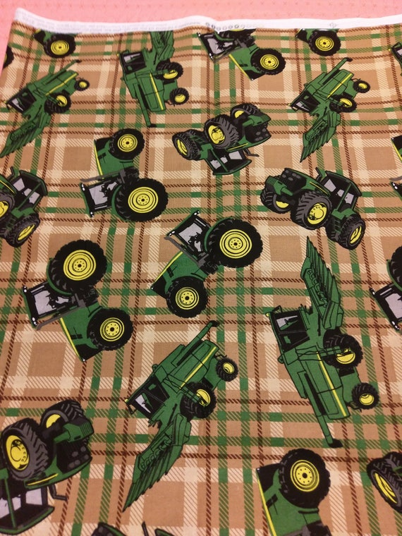 John Deere Cotton Brown Plaid Fabric By The Yard Tractor Fabric Farm Cotton Sewing Licensed John Deere Boy Nursery Fabric