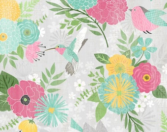 Floral Hummingbird Cotton Floral By Wilmington Prints | Keep Shining Bright by Anne Rowan Collection | 100% Cotton