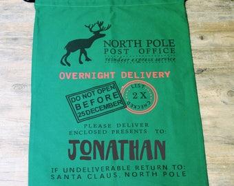 Green Santa Sack Personalized   Large Santa Bags   Christmas Wrapping   Kids Santa Sacks   Reindeer North Pole