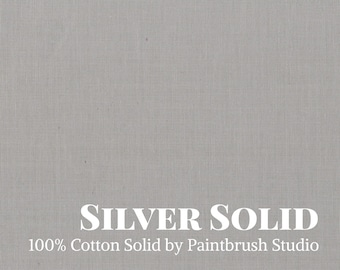 Solid Gray Cotton Fabric | Silver Solid | Solid Grey Cotton Fabric by the Yard | Facemask Fabric | Paintbrush Stuido