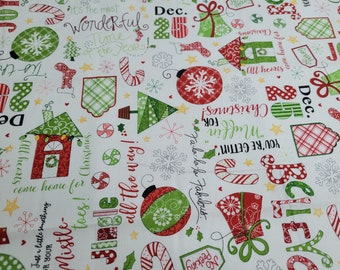 White Jingle Toss Cute Christmas Fabric by the yard   Christmas Jingle & Whisk by Kimberbell Designs   Holiday Words Fabric