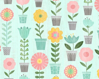 Flower Pot Floral By Wilmington Prints | Keep Shining Bright by Anne Rowan Collection | 100% Cotton