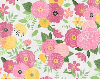 Pink Yellow & Light Gray Cotton Floral By Wilmington Prints | Keep Shining Bright by Anne Rowan Collection | 100% Cotton