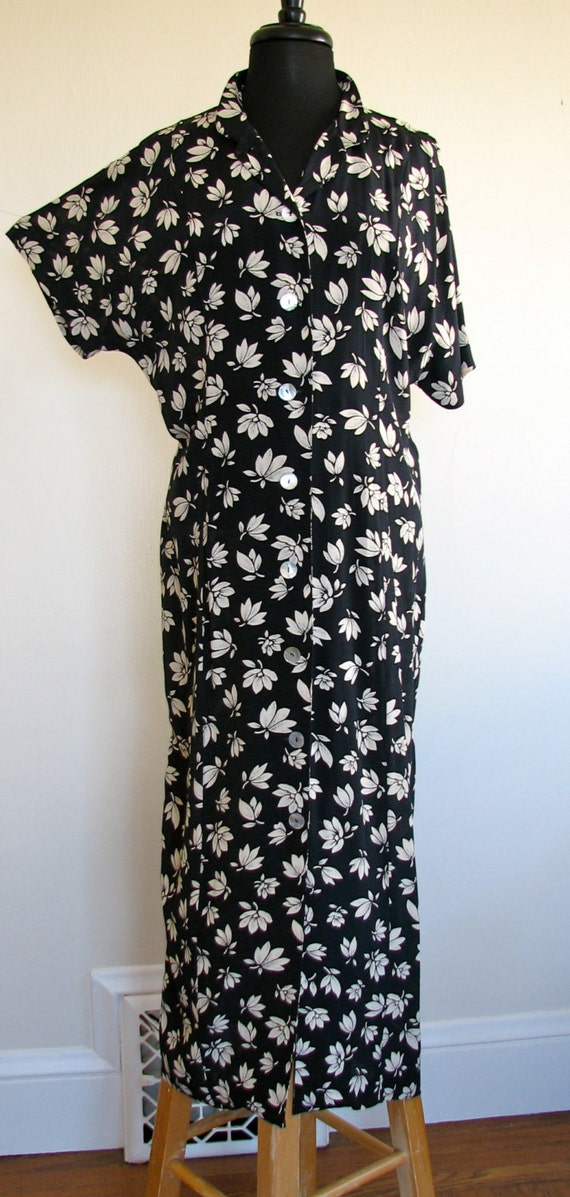 90s does 1930s-1940s dress - black and white pure