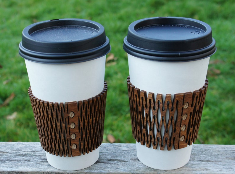 Coffee Sleeve  Laser Cut Wood image 0