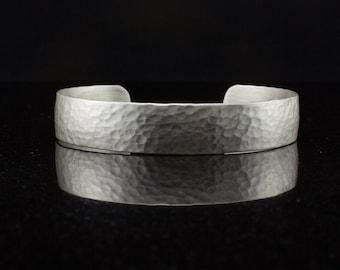 Hammered Sterling Silver Cuff Bracelet for Men or Women - Domed Cuff Bracelet -  Chunky Wide Silver Bracelet - Custom Made to Order