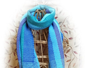 Handwoven Turquoise ZigZag Scarf