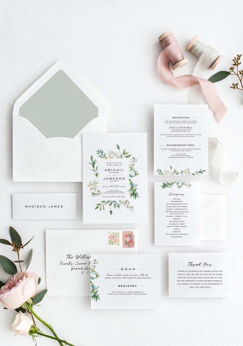 Greenery Wedding Invitation Set Floral Garden DIGITAL SET DOWNLOAD