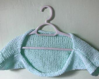 Small Bolero Shrug, Knitted Yarn Stole, Green Bolero Shrug, Sparkly Bolero Shrug, Knit Bolero Shrug, Prom Bolero Shrug, Wedding Bolero Shrug