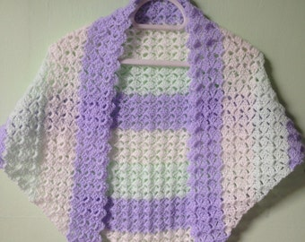 Pastel Shawlette, Triangle Shawl, Crocheted Shawl, Crochet Bolero Wrap, Prom Shawl Wrap, Prom Bolero, Formal Shawl Wrap, Formal Yarn Bolero