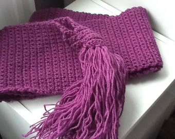 Purple Tassel Scarf, Bohemian Scarf, Boho Scarf, Hipster Scarf, Purple Fringe Scarf, Woolly Purple Scarf, Ladies Purple Scarf, Gift for Her
