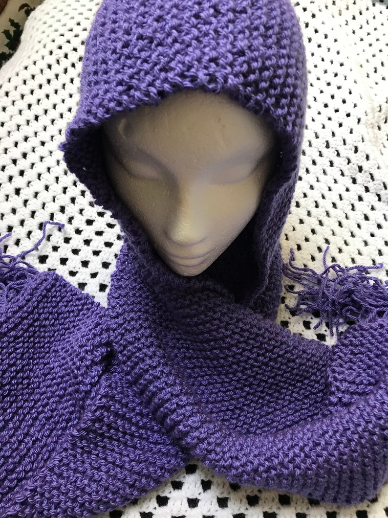 Purple Hooded Hand Knit Fringed Aran Scarf for Women and Girls
