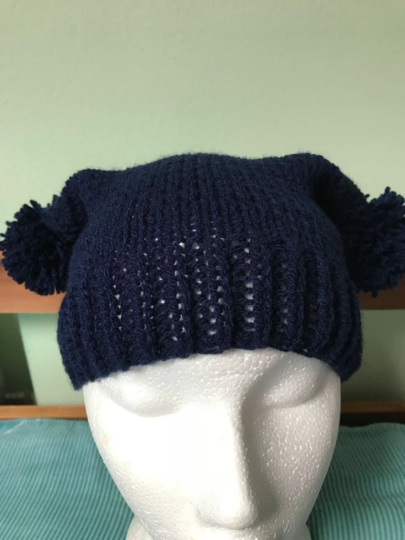 112994132a2 Double Pom Pom Hat Two Pom Pom Beanie Navy Blue Skull Cap