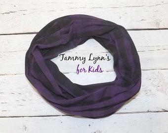 cc3de2f1cbcf KIDS Purple and Black Buffalo Plaid Jersey Knit Spandex Infinity Scarf  Girls Kids School Accessories