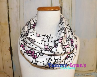 dcf080009 Kid's Hello Kitty on White and Pink Jersey Knit Spandex Infinity Scarf  Girl's, Kid's, Accessories Cat Lover's