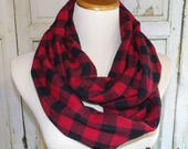 Adult Red Black Buffalo Plaid FLANNEL Infinity Scarf Photo Shoot Women 39 s Accessories