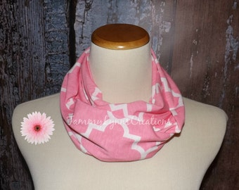 GIRLS Quatrefoil PINK Infinity Scarf Lightweight Jersey Knit Soft Double Loop Scarf Girls Accessories