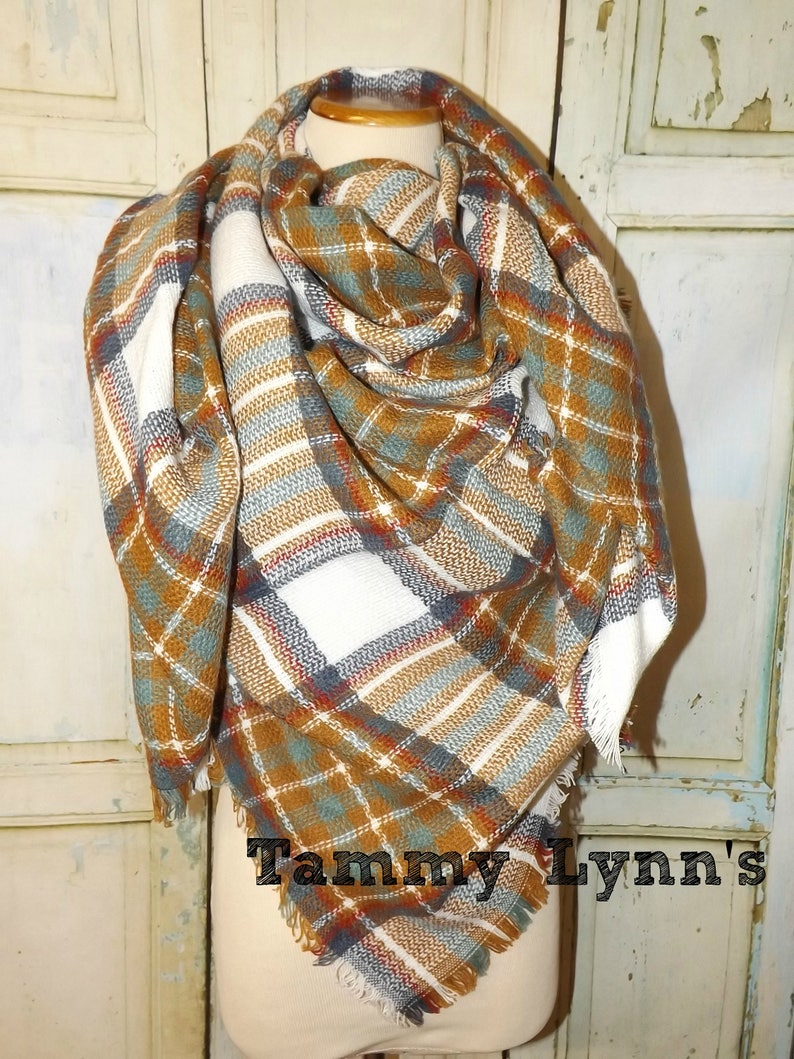 dc89cc773 Camel Plaid Square Style Blanket Scarf Fall Winter Gifts Etsy