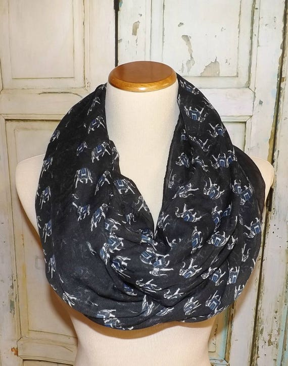 adc76c6952474 NEW Elephants on Black Viscose Infinity Scarf Women's | Etsy