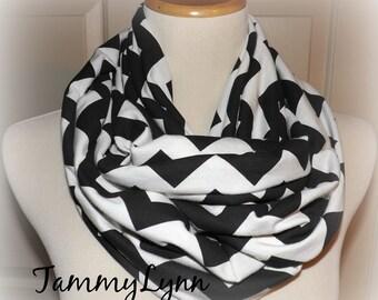 Black & Cream Chevron Infinity Scarf Jersey Knit Cotton Women Tammy Lynns Creations