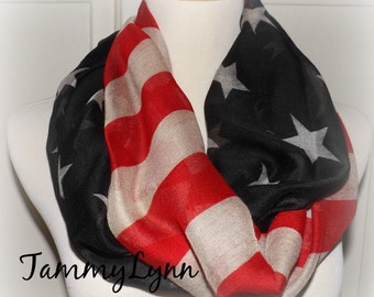 SALE!! Vintage American Flag Infinity Scarf USA Soft and Large Patriotic Scarf July 4th Scarf