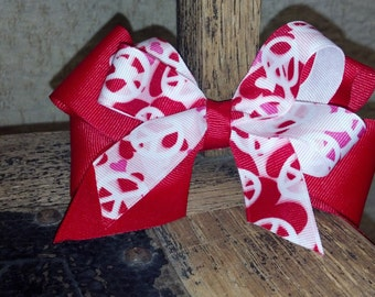 Peace Sign Red and White Stacked Grosgrain Hair Bow
