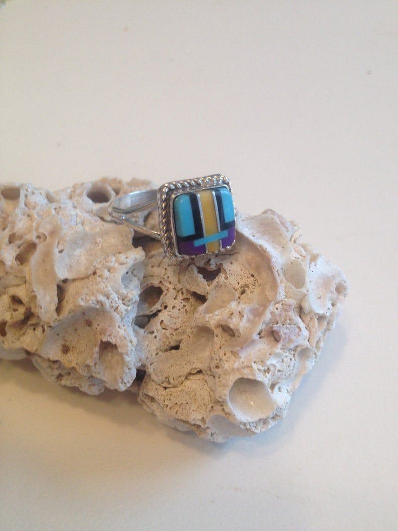 Sale Navajo jewelry-Navajo Multi Gem Inlay Ring-Vintage Navajo Ring-Navajo Black Onyx Ring-Navajo Purple Sugilite Yellow