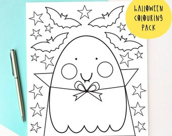 Halloween Colouring pages - Ghost Colouring pack - Mindful Activity Sheets - Halloween Activity