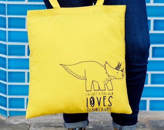 Dinosaur Tote bag. Yellow shopper.