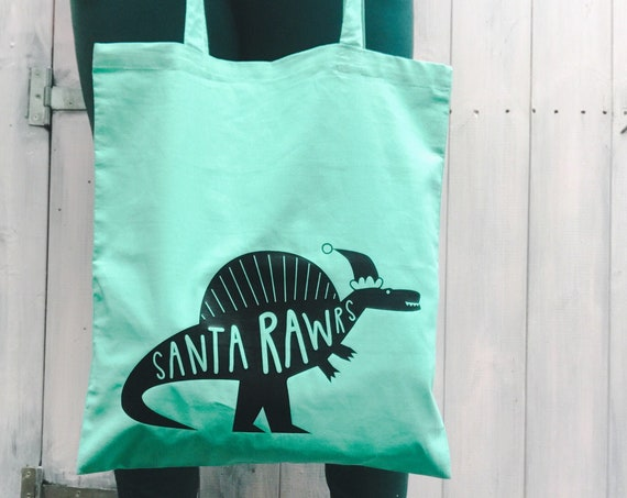 Christmas Dinosaur Tote bag. Green shopper.