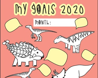 2020 goals - digital print - Dinosaur colouring page