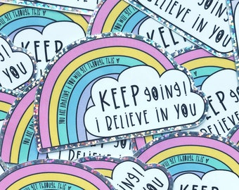 Glitter Rainbow vinyl - Rainbow sticker - Motivational sticker - Mental health sticker