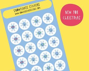 Snowflake sticker sheet - Mini snowflake stickers - Planning Stickers - Christmas stickers
