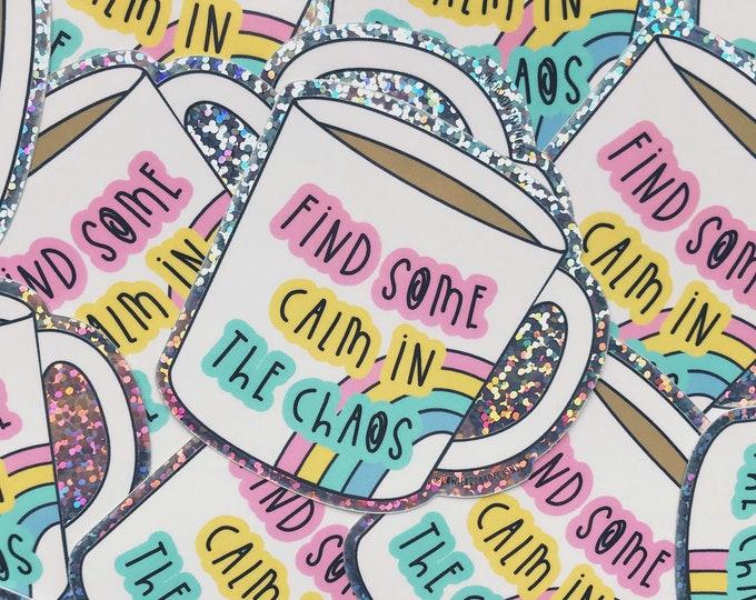 Cup of Tea Glitter Vinyl Sticker - Mental health sticker - Rainbow Sticker- colourful
