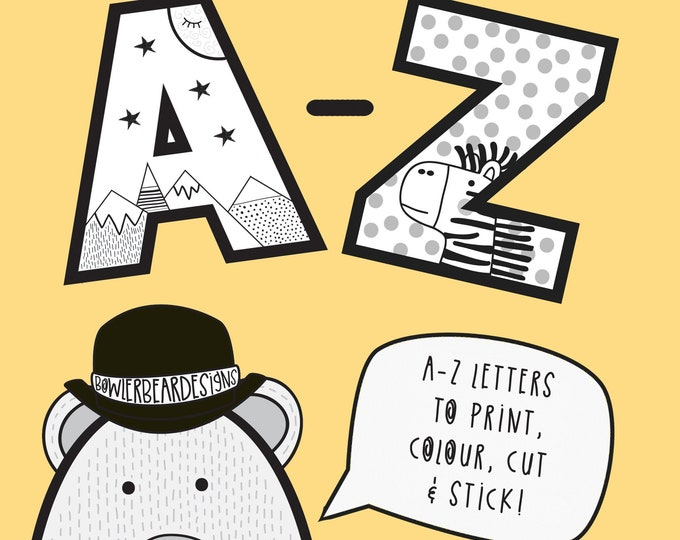 A-Z Colouring sheet - Alphabet print out - digital download