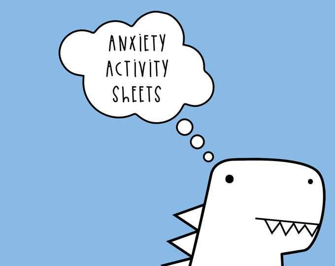 Anxiety activity worksheet - Dinosaur colouring page - Self care download