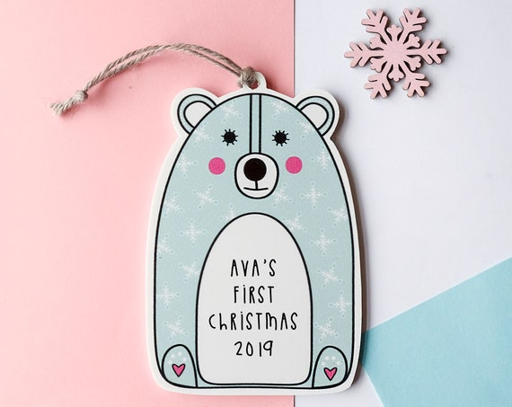 Pre - Order Personalised Christmas Bear Decoration
