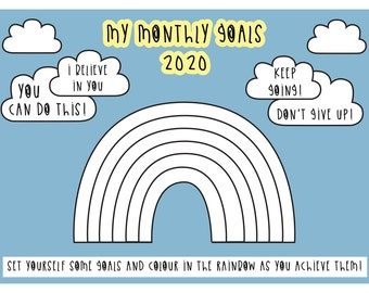 2020 goals - digital print - Rainbow colouring page