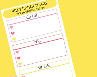 Weekly Planner Templates - Goals, Gratitude, Self Care stickers - Planning Stickers