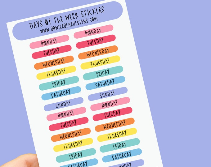 Featured listing image: Days of the week Sticker sheet - Set of 2 A6 Rainbow sheets - Planning Stickers