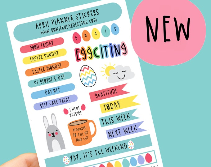 Featured listing image: April Planner Sticker sheet - Journal Stickers